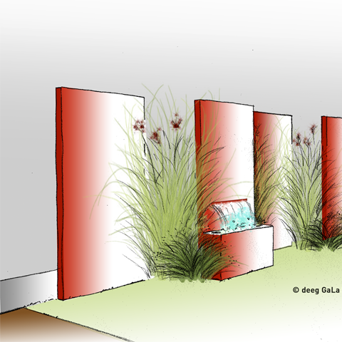 deeg Gartenbau Sichtschutz mit Wasserspiel