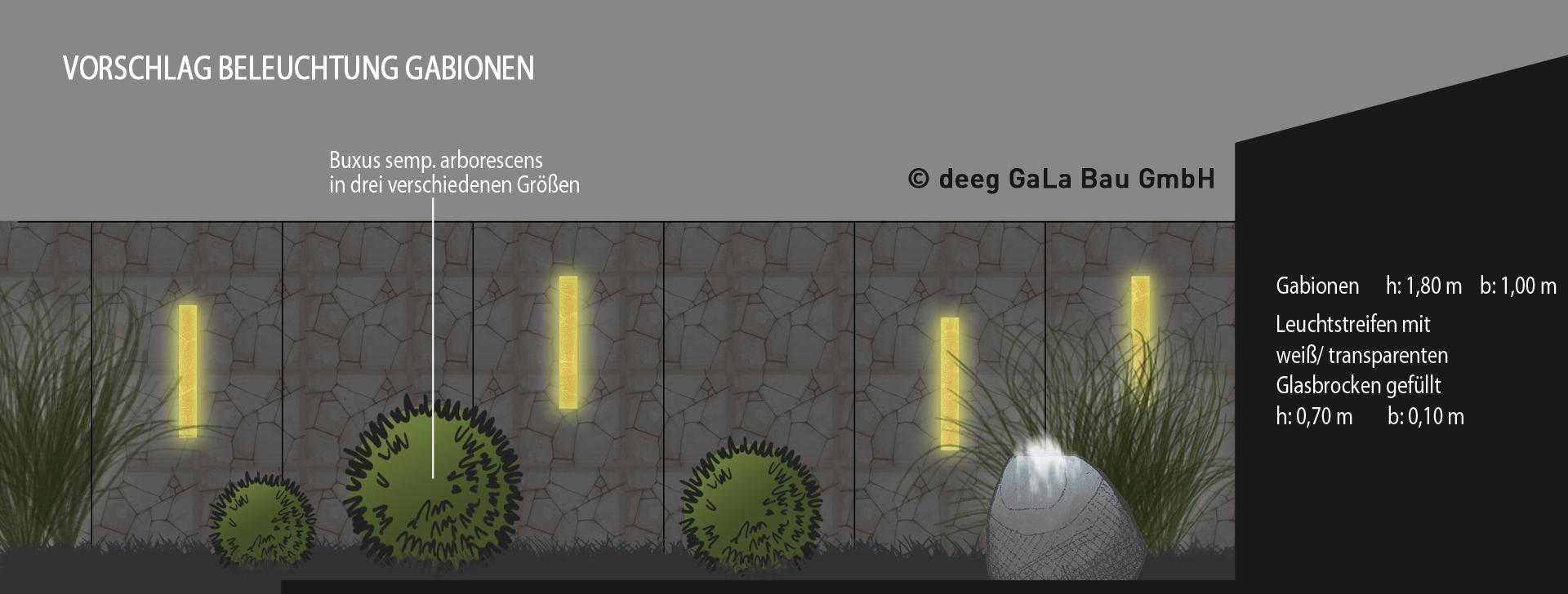 Gabionen und Beleuchtung im Garten Gartenbau